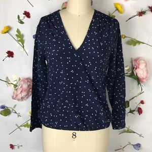 NWT Madewell heart print cross front blouse